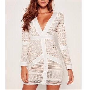 White lace long sleeved plunge Missguided dress